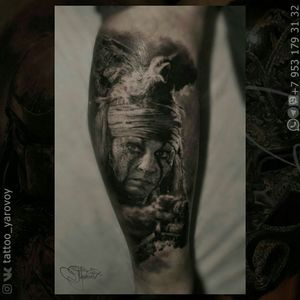 Realistic tattoo black and gray with Tonto. #johnnydepp #tonto #realism #realistic #realistictattoo