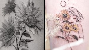 Tattoo on the left by ColdGray and tattoo on the right by Zihae #ColdGray #Zihae #flowertattoos #flowertattoo #flower #floral #nature #plant