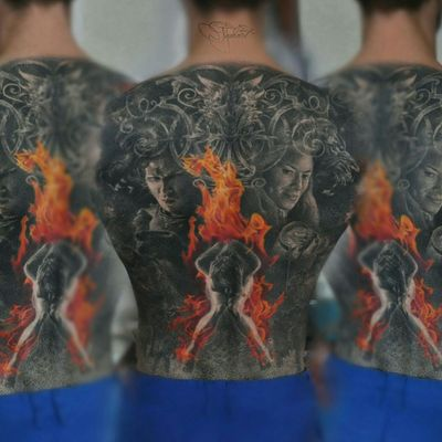 Realistic tattoo black and gray with Game of thrones. #gameofthrones #fire #backtattoo #back #cerseilannister #lannister