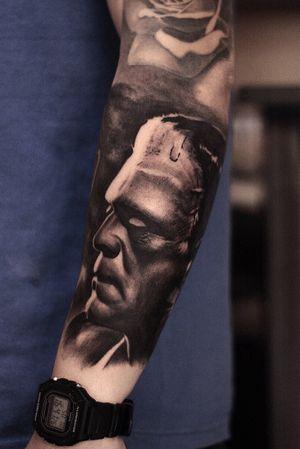 Frankenstein #staygoldtattooph #blackandgrey #frankenstein