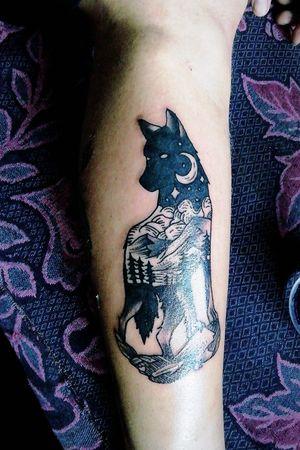 Lobo paisaje tatto