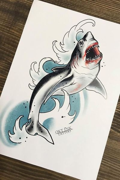 Neotraditional shark #watercolor #traditional #color #neotraditional #shark