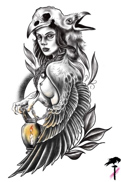 Sirin bird #blackandgray #neotraditional #raven #crow #woman