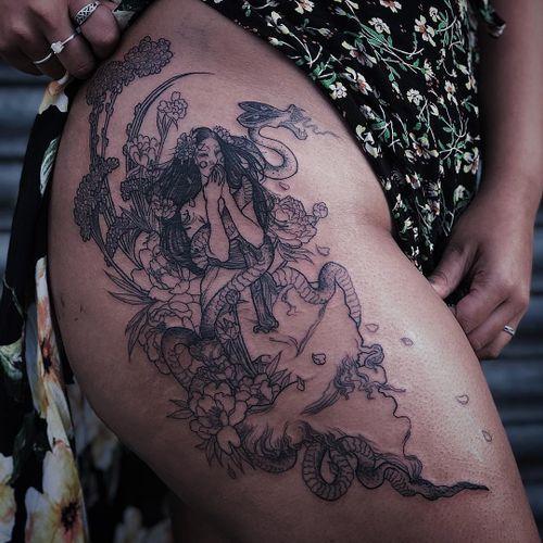 Tattoo by Ruby Wolfe #RubyWolfe #TannParker #InktheDiaspora #lady #flowers #floral #snake #surreal #strange #monster #ghost #demon #qpocttt #poctattoo #qpoctattoo #brownskin #blackskin #empower #visibility #tattoocommunity