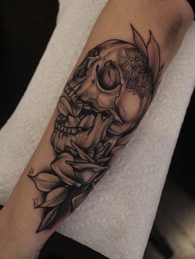 Tattoo by Katie Wilson #KatieWilson #coveruptattoos #coveruptattoo #coverup #tattoocoverup #scarcoverup #blackandgrey #skull #mandala #rose #flower #floral #leaves #illustrative #neotraditional