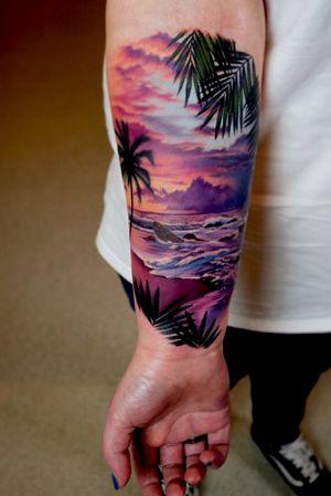 Paradise is where you make it 😘 #tattoo #tattoos #ink #inked #tattooidea #tattooideas #amazingtattoos #realismtattoo #femininetattoos #tattoodesign #besttattoos #amazingtattoo #superbtattoos #fusionink #lizvenom #edmontontattoo #edmontonink #sunsettattoo #sunset #tropical #paradise #ocean #waves #wanderlust #beach #beachsunset #color #colour