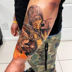 Scorpion from Mortal Kombat 🔥 #game #scorpion #color #fight #tattoo #newyork #tattoos #colors #ink #inked #tattooArtist  #art