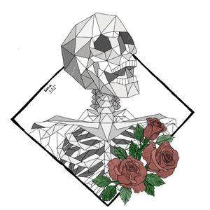 #skeleton #digitalartist #digitaldrawing #digital #flower #Geometrical