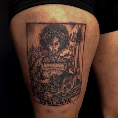 Tattoo by Liam aka theblvckmambatattoo #Liam #theblvckmambatattoo #TannParker #InktheDiaspora #tarot #jaguar #goddess #warrior #soldier #strength #infinity #qpocttt #poctattoo #qpoctattoo #brownskin #blackskin #empower #visibility #tattoocommunity