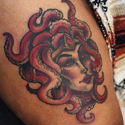Tattoo by Jaylind Hamilton #JaylindHamilton #TannParker #InktheDiaspora #ladyhead #octopus #seacreature #goddess #deity #qpocttt #poctattoo #qpoctattoo #brownskin #blackskin #empower #visibility #tattoocommunity