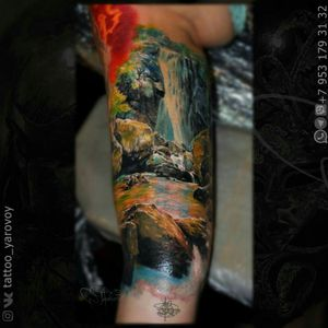 Realistic tattoo with landscape and waterfall. #waterfall #waterfalltattoo #landscape #landscapetattoo #realism #realistictattoo