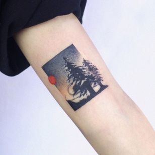 Tattoo by Soyoon TT #SoyoonTT #coveruptattoos #coveruptattoo #coverup #tattoocoverup #scarcoverup #landscape #forest #trees
