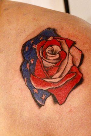 American flag rose.