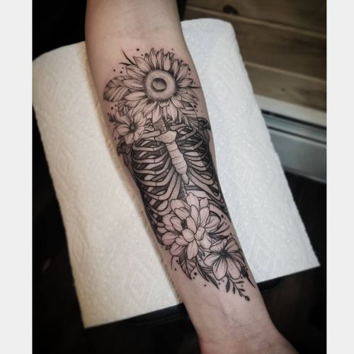 Black and grey floral/skeleton  February 2019