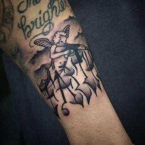 #lettering #letteringtattoo #chicano #chicanostyle #blackandgreytattoo #tattooart #faith #fé #ak47 #angel