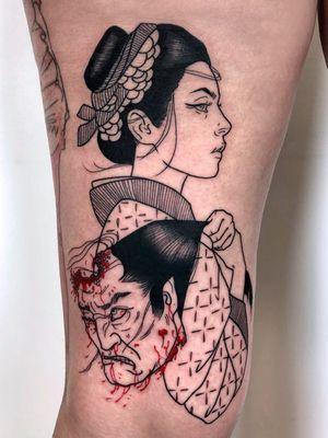 Tattoo by Silly Jane #SillyJane #darkarttattoos #darkart #illustrative #horror #darkness #demons #devils #ghosts #evil #severedhead #namakubi #blood #samurai #warrior #portrait #lady #babe