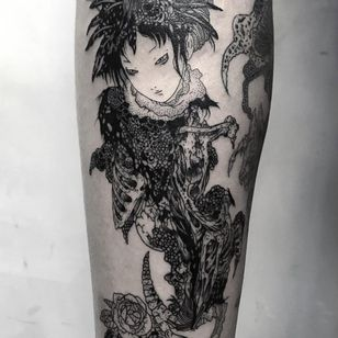 Tattoo by Frankie Sexton #FrankieSexton #darkarttattoos #darkart #illustrative #horror #darkness #demons #devils #ghosts #evil #takatoyamamoto
