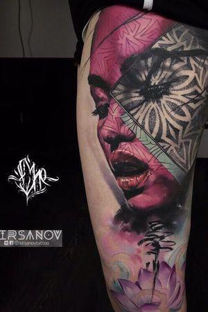 #tattoo #ta2 #TA2BODY #tattooartist #color #lizache #neontattoo #girltattoo #portrait #Collaboration