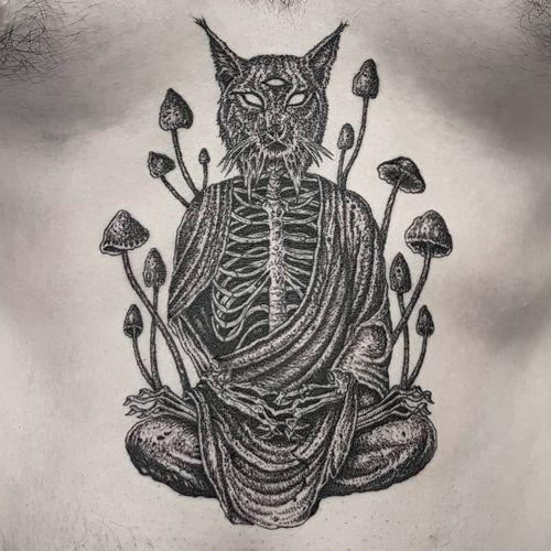 Tattoo by Josef Batar #JosefBatar #darkarttattoos #darkart #illustrative #horror #darkness #demons #devils #ghosts #evil #mushrooms #buddha #cat #thirdeye