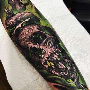 Tattoo by Brandon Herrera #BrandonHerrera #darkarttattoos #darkart #illustrative #horror #darkness #demons #devils #ghosts #evil #skull #death