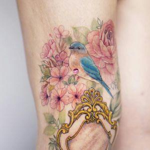 #birdtattoo #bluebirdtattoo #flowertattoo #cherryblossomtattoo #colortattoo #coveruptattoo #tattoocoverup