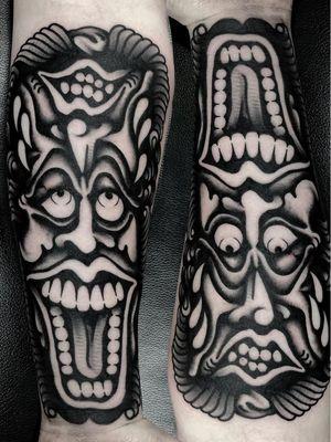 Tattoo by Ruco #Ruco #darkarttattoos #darkart #illustrative #horror #darkness #demons #devils #ghosts #evil #blackwork #portrait