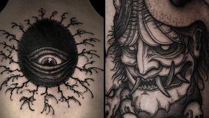 Tattoo on the left by Bang Ganji and tattoo on the right by Klim Shakhnin #KlimShakhnin #BangGanji #darkarttattoos #darkart #illustrative #horror #darkness #demons #devils #ghosts #evil