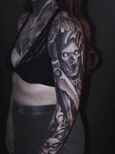 Tattoo by Rob Diamond #RobDiamond #darkarttattoos #darkart #illustrative #horror #darkness #demons #devils #ghosts #evil #reaper #blackandgrey #scythe #skull #skeleton #chain #death