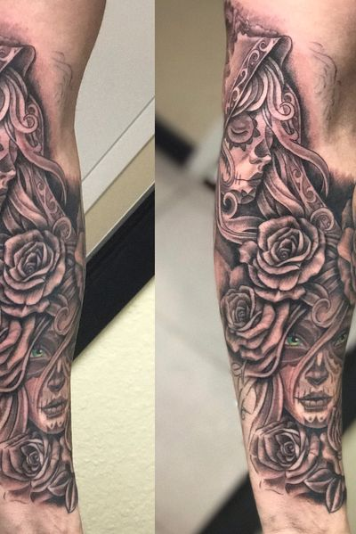 #roses #dayofthedead #tattoo #blackandgray