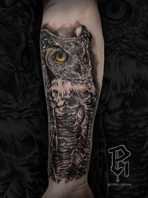 For Bookings: robinstattoos@gmail.com . . . . . . . . . . #owltattoo #blackandgreytattoo #realism #blackandgray #nyc #nyctattooartist #newjerseytattoos #njtattooer #tattooartist