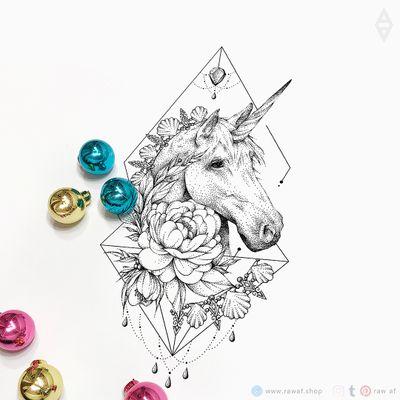 Unicorn! Download the full design from my webshop (www.rawaf.shop/tattoo) and follow on Instagram for more designs (the_rawflow). 💣 #dotwork #blackwork #flower #flowers #unicorn #feminine #girly #black #blackandgrey