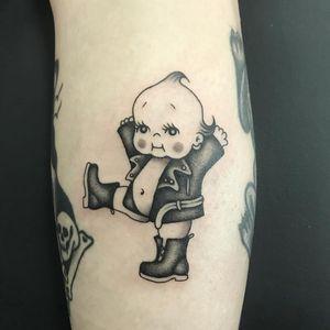 Tattoo by Sofia Ripper #SofiaRipper #tattoodoapp #tattoodoappartist #tattooartist #tattooart #tattoodoappspotlight #kewpie #baby #leather #punk