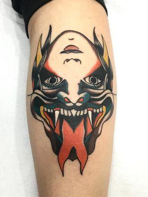 Tattoo by Toy Lord #ToyLord #tattoodoapp #tattoodoappartist #tattooartist #tattooart #tattoodoappspotlight #traditional #demon #portrait #ladyhead
