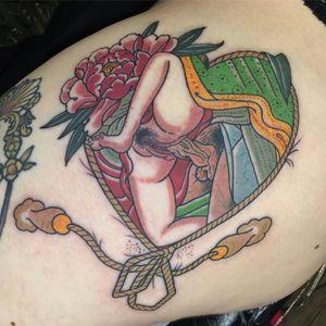 Shunga tattoo by Alina Bushman #shunga #shungatattoo #japanesetattoo #classictattoo #traditionaltattoo #irezumi #japanese #traditional #heart #love #sexy #tattooart #femaletattooartist #tattooer #tattooing #tätowierung #oldschool #tattooed