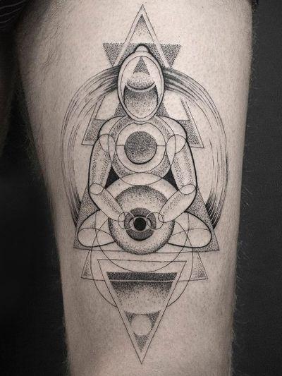 Tattoo by Sven Rayen #SvenRayen #tattoodoapp #tattoodoappartist #tattooartist #tattooart #tattoodoappspotlight #dotwork #geometric #linework #buddha #meditate #shapes