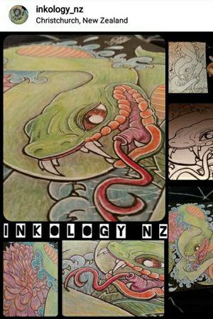 snake and peony pieces #snake #peony #inkologynz #christchurch #nztattoo #nz