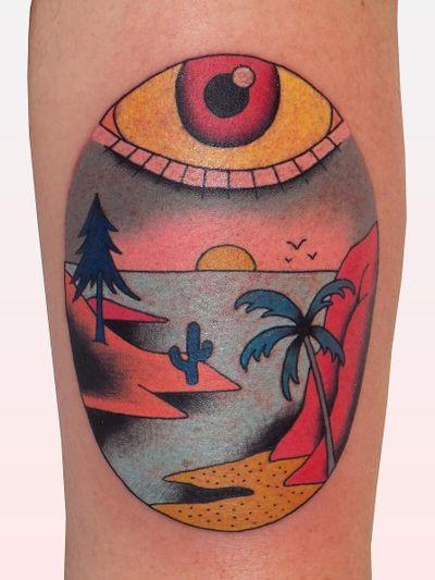 Tattoo by Brindi #Brindi #tattoodoapp #tattoodoappartist #tattooartist #tattooart #tattoodoappspotlight #island #landscape #sunset #eye #cactus #cacti #palmtree #tree #nature