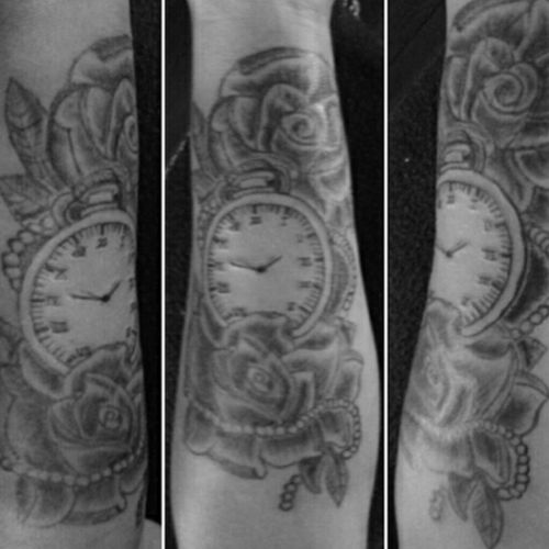 black and grey forarm pocketwatch and roses inkology nz design