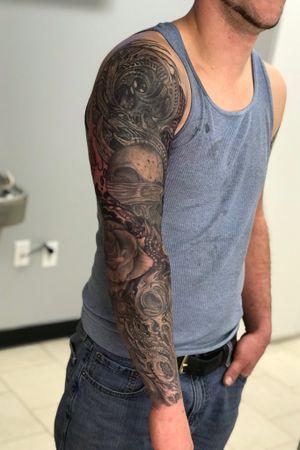 Black and grey sleeve work