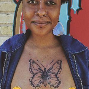 Tattoo by Jaylind Hamilton #JaylindHamilton #TannParker #InktheDiaspora #butterfly #chesttattoo #qpocttt #poctattoo #qpoctattoo #brownskin #blackskin #empower #visibility #tattoocommunity