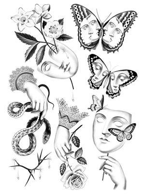 Tattoo flash by Ana and Camille #AnaandCamille #blackandgrey #illustrative #renaissance
