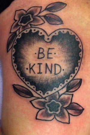 Be Kind. #Black #traditionalblackwork #traditional #heart #traditionaltattoo #lettering #letteringtattoo