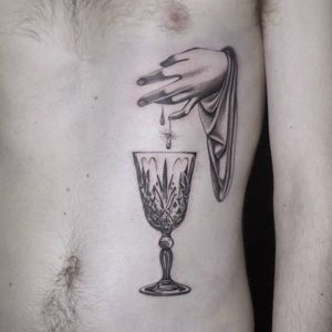 Tattoo by Ana and Camille #AnaandCamille #blackandgrey #illustrative #renaissance #glass #goblet #hand #tear #blood #sparkle