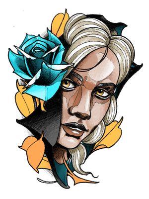 #girlface #ladyface #face #rose #leaves #hood #berlin #berlintattoo