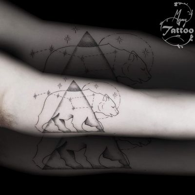 #bear #beartattoo #tattoo #constellation #constellations #constellationtattoo #inked #blackworktattoo #blackandgreytattoo #finelines #thinlinestattoo #starstattoo #dotswork #dotwork #dotsshading