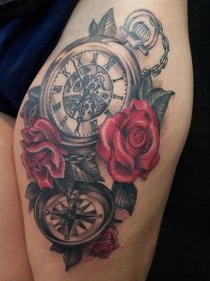 Pocket watch and compass with roses
