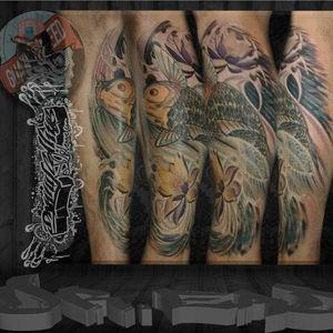 Koi fish and lotus flowers #tattoo #arm #joint #leg #humanbody #tattooartist #tree #font #flesh #muscle #humanleg #back #art #instapic #instatattoo #sleevetattoo #photography #tattedup #inked #tattoos #photooftheday #inkedup #tats #tatts #design #tattooed #handtattoo #coverup #tatted #instagood