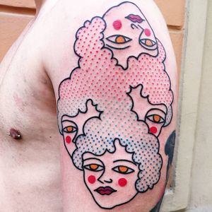 Tattoo by Paul Colli #PaulColli #traditional #ladyhead #abstract #surreal #lips #eyes #dotwork #color