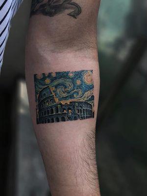 Tattoo by Serkan Demirboga #SerkanDemirboga #moontattoos #Moontattoo #moon #night #nightsky #nature #sky #vangogh #colosseum #building #architecture #rome #italy #painting #fineart