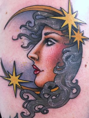 Tattoo by Guen Douglas #GuenDouglas #moontattoos #Moontattoo #moon #night #nightsky #nature #sky #color #neotraditional #ladyhead #star #lady